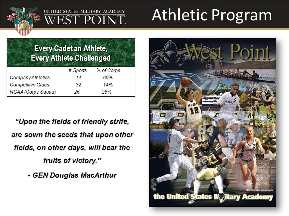 Athletic Program Every Cadet an Athlete, Every Athlete Challenged Every Cadet an Athlete, Every Athlete Challenged # Sports % of Corps # Sports % of Corps Company Athletics 14 60% Competitive Clubs 32 14% NCAA (Corps Squad) 26 26% # Sports % of Corps # Sports % of Corps Company Athletics 14 60% Competitive Clubs 32 14% NCAA (Corps Squad) 26 26% Upon the fields of friendly strife, are sown the seeds that upon other fields, on other days, will bear the fruits of victory. - GEN Douglas MacArthur
