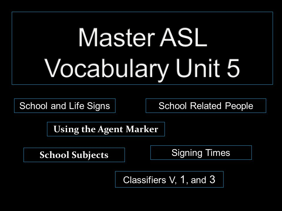 School and Life Signs Using the Agent Marker Classifiers V, 1, and 3 School Subjects Signing Times School Related People