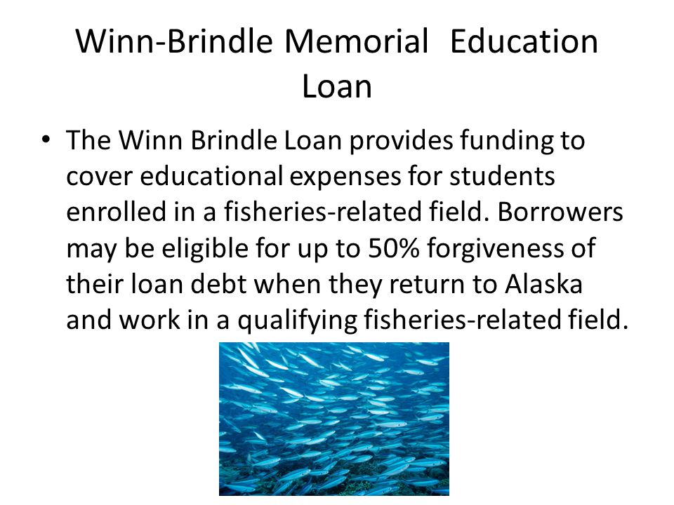 Winn-Brindle Memorial Education Loan The Winn Brindle Loan provides funding to cover educational expenses for students enrolled in a fisheries-related field.