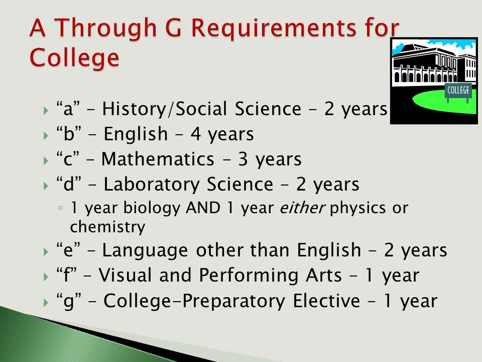  a – History/Social Science – 2 years  b – English – 4 years  c – Mathematics – 3 years  d – Laboratory Science – 2 years ◦ 1 year biology AND 1 year either physics or chemistry  e – Language other than English – 2 years  f – Visual and Performing Arts – 1 year  g – College-Preparatory Elective – 1 year