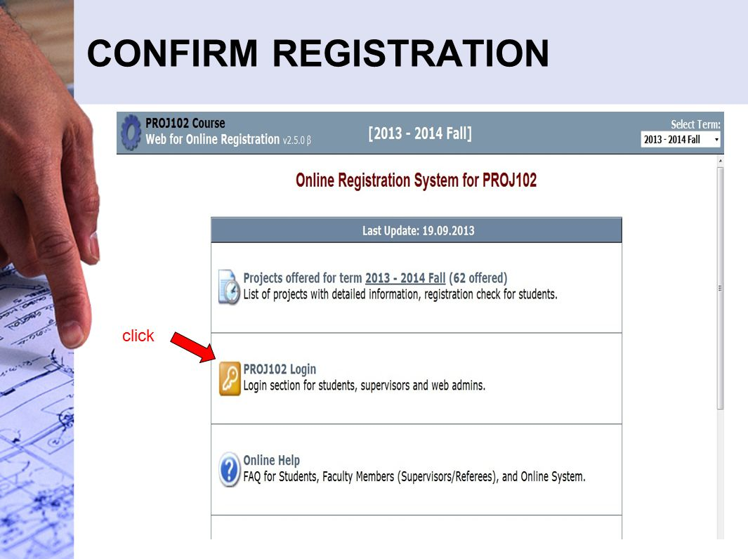 CONFIRM REGISTRATION click