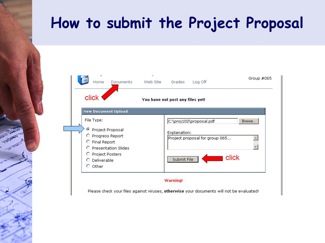 How to submit the Project Proposal click