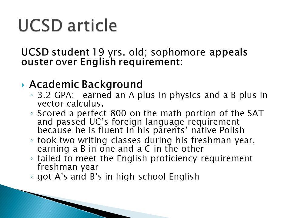 UCSD student 19 yrs.