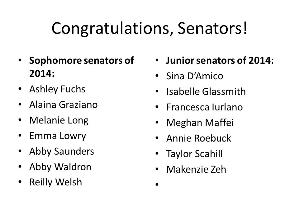 Congratulations, Senators.