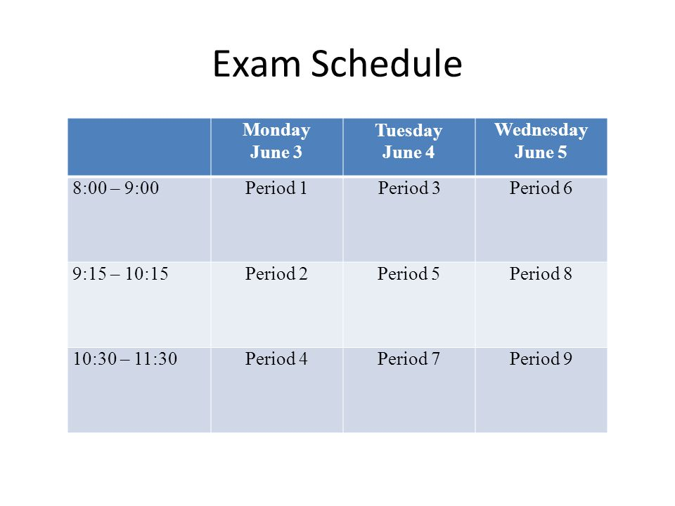 Exam Schedule Monday June 3 Tuesday June 4 Wednesday June 5 8:00 – 9:00Period 1Period 3Period 6 9:15 – 10:15Period 2Period 5Period 8 10:30 – 11:30Period 4Period 7Period 9
