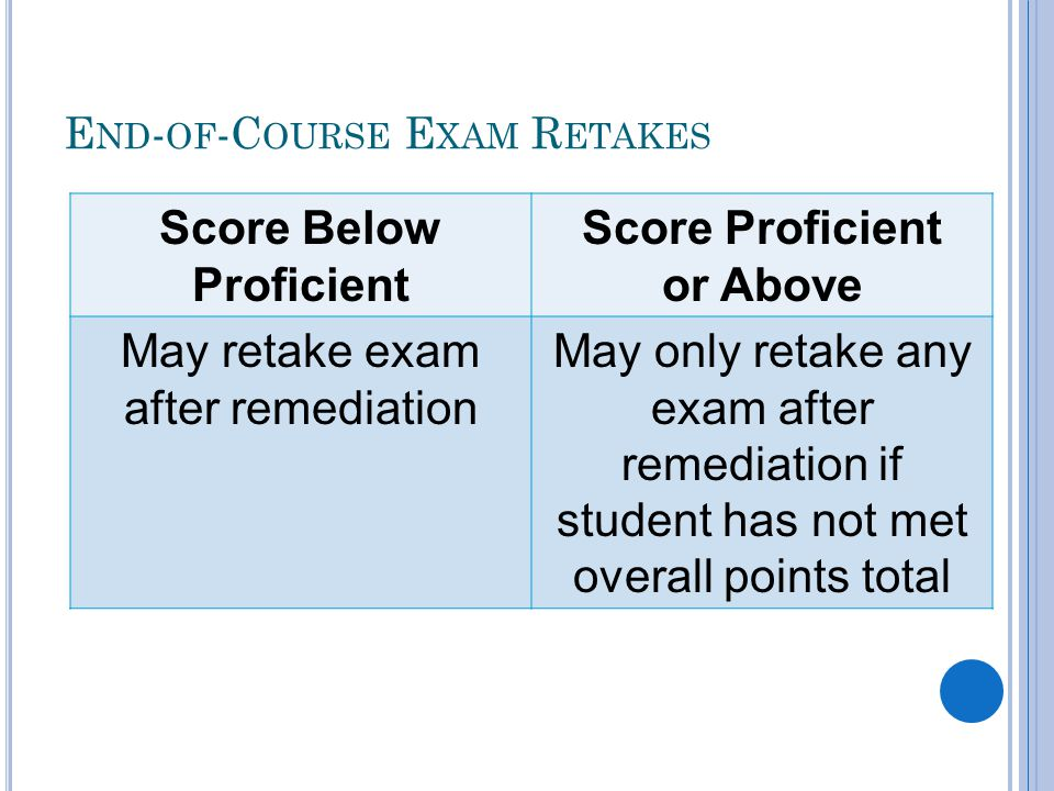 E ND - OF -C OURSE E XAM R ETAKES Score Below Proficient Score Proficient or Above May retake exam after remediation May only retake any exam after remediation if student has not met overall points total