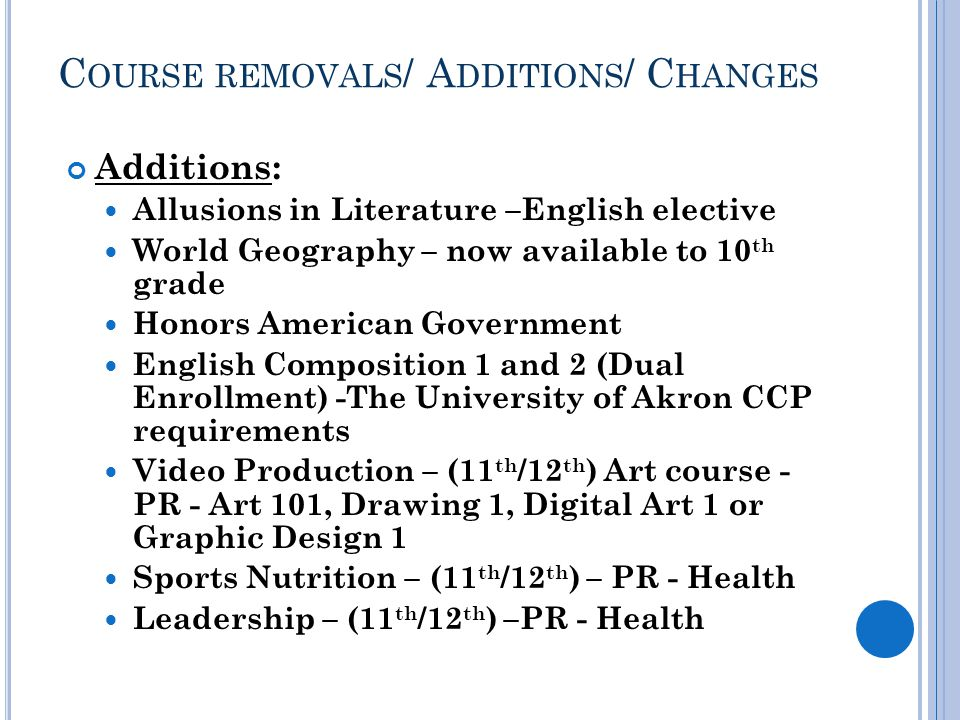 C OURSE REMOVALS / A DDITIONS / C HANGES Additions: Allusions in Literature –English elective World Geography – now available to 10 th grade Honors American Government English Composition 1 and 2 (Dual Enrollment) -The University of Akron CCP requirements Video Production – (11 th /12 th ) Art course - PR - Art 101, Drawing 1, Digital Art 1 or Graphic Design 1 Sports Nutrition – (11 th /12 th ) – PR - Health Leadership – (11 th /12 th ) –PR - Health