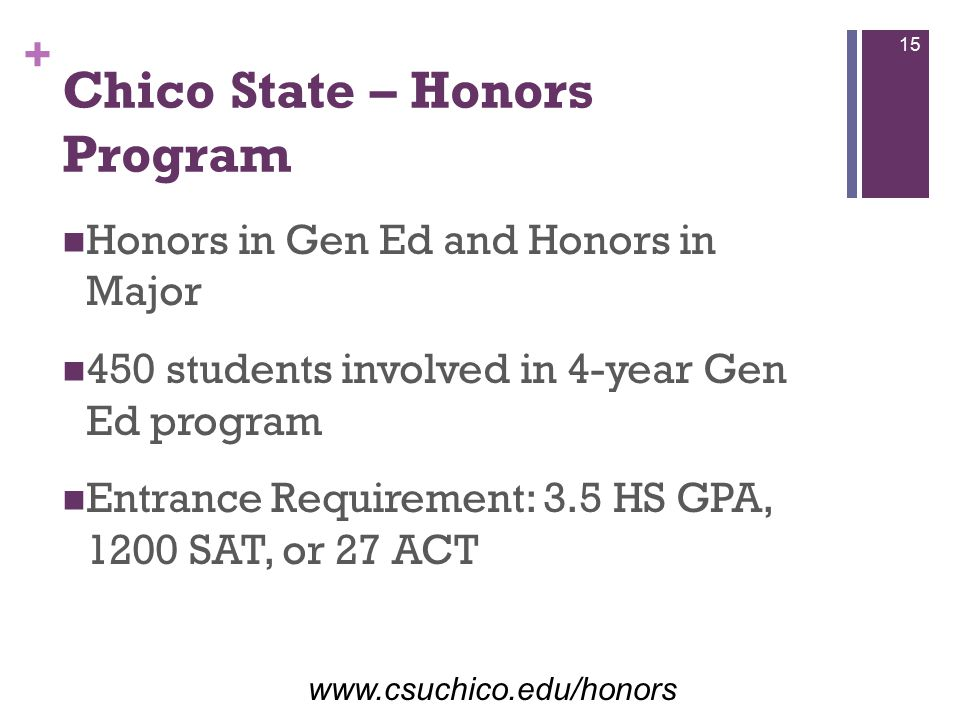 + Chico State – Honors Program Honors in Gen Ed and Honors in Major 450 students involved in 4-year Gen Ed program Entrance Requirement: 3.5 HS GPA, 1