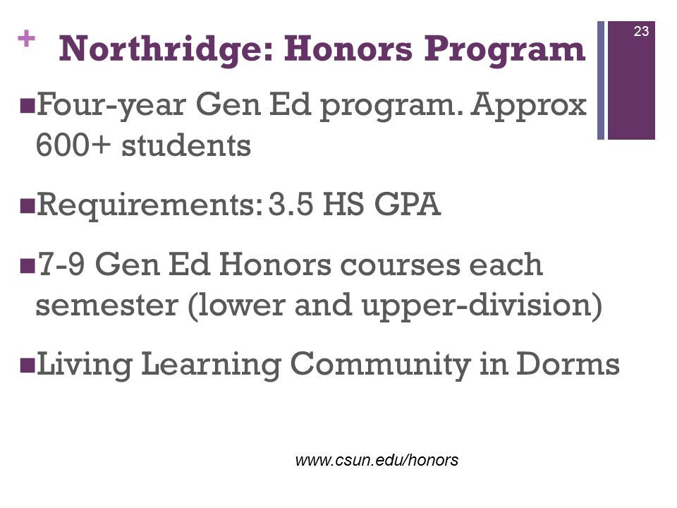 + Northridge: Honors Program Four-year Gen Ed program.