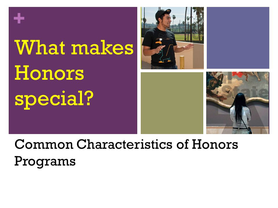 + What makes Honors special Common Characteristics of Honors Programs