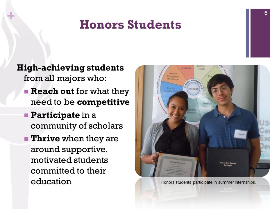 + Honors Students High-achieving students from all majors who: Reach out for what they need to be competitive Participate in a community of scholars T