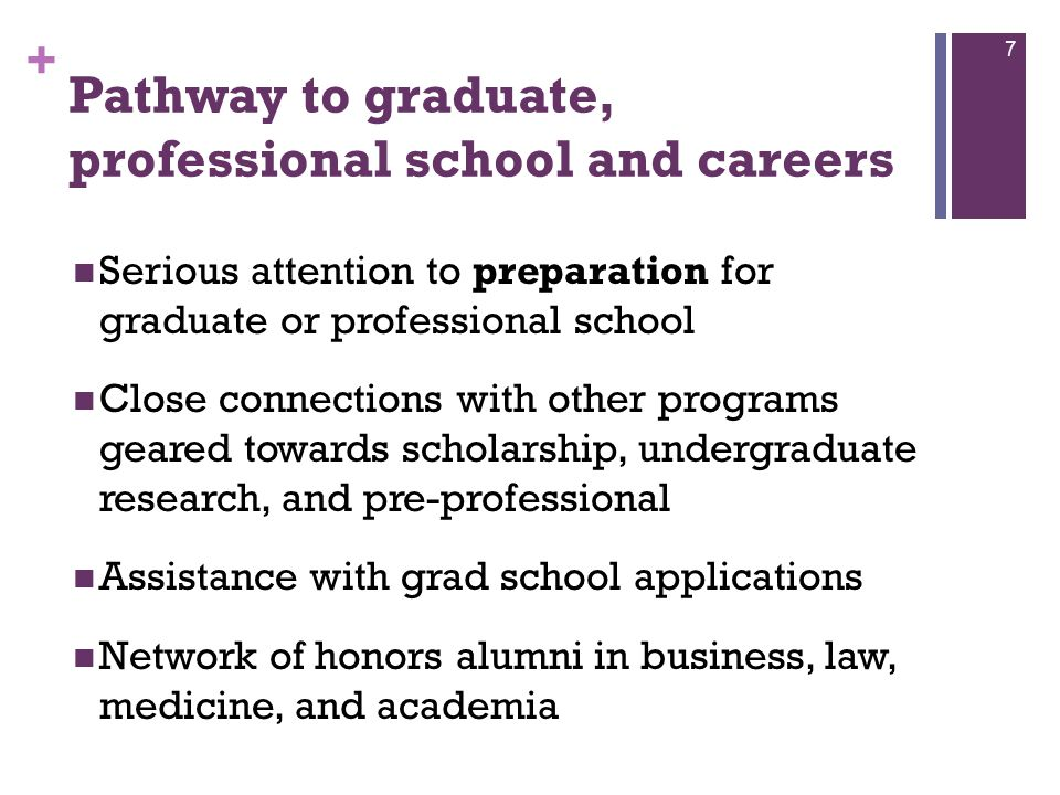 + Pathway to graduate, professional school and careers Serious attention to preparation for graduate or professional school Close connections with other programs geared towards scholarship, undergraduate research, and pre-professional Assistance with grad school applications Network of honors alumni in business, law, medicine, and academia 7
