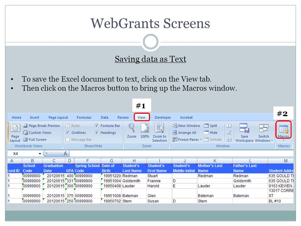 WebGrants Screens To save the Excel document to text, click on the View tab. Then click on the Macros button to bring up the Macros window. Saving dat