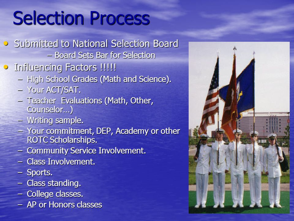 Selection Process Submitted to National Selection Board Submitted to National Selection Board –Board Sets Bar for Selection Influencing Factors !!!!.
