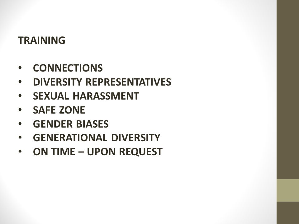 TRAINING CONNECTIONS DIVERSITY REPRESENTATIVES SEXUAL HARASSMENT SAFE ZONE GENDER BIASES GENERATIONAL DIVERSITY ON TIME – UPON REQUEST