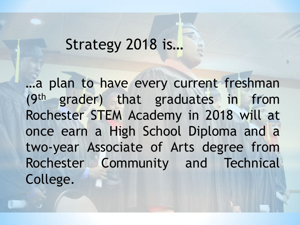 Strategy 2018 is… …a plan to have every current freshman (9 th grader) that graduates in from Rochester STEM Academy in 2018 will at once earn a High School Diploma and a two-year Associate of Arts degree from Rochester Community and Technical College.