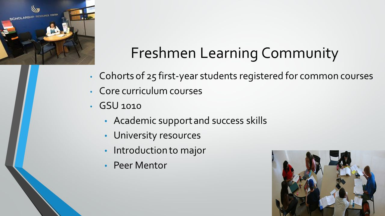 Freshmen Learning Community Cohorts of 25 first-year students registered for common courses Core curriculum courses GSU 1010 Academic support and success skills University resources Introduction to major Peer Mentor