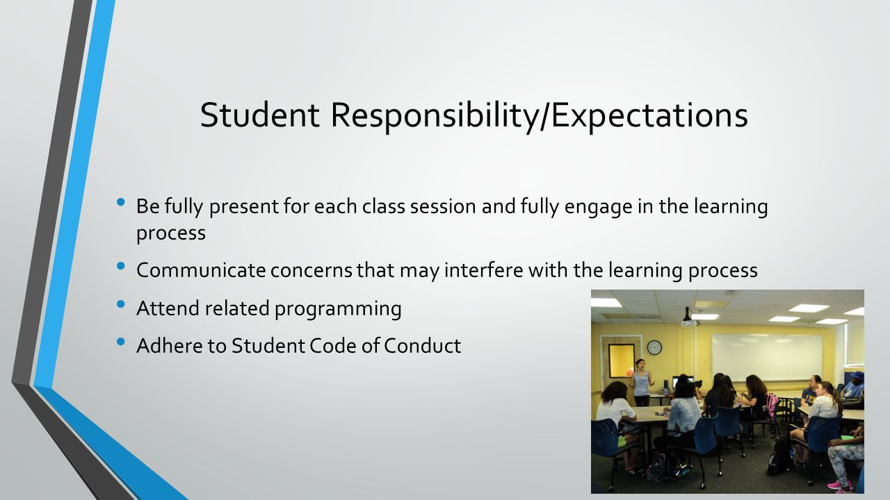 Student Responsibility/Expectations Be fully present for each class session and fully engage in the learning process Communicate concerns that may interfere with the learning process Attend related programming Adhere to Student Code of Conduct