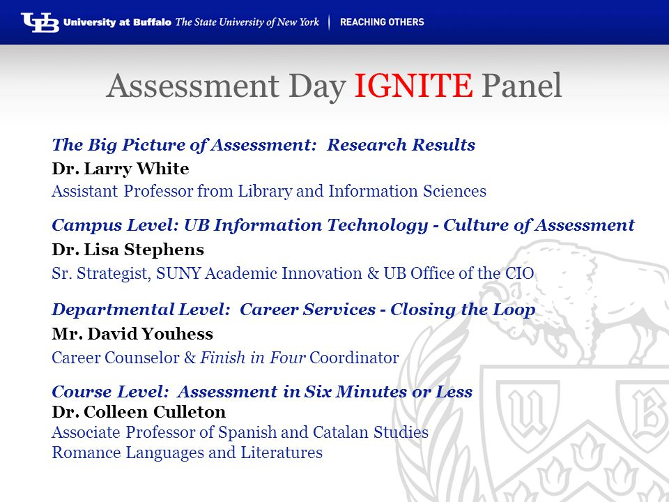 The Big Picture of Assessment: Research Results Dr. Larry White Assistant Professor from Library and Information Sciences Campus Level: UB Information