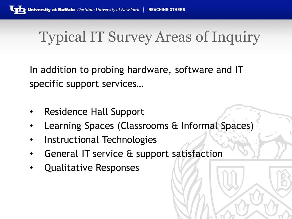 In addition to probing hardware, software and IT specific support services… Residence Hall Support Learning Spaces (Classrooms & Informal Spaces) Inst
