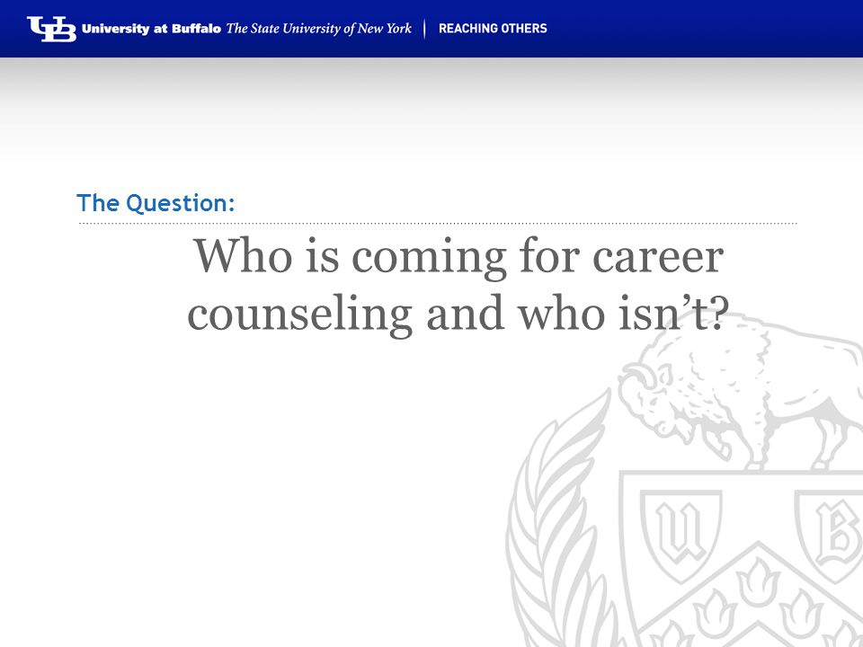 Who is coming for career counseling and who isn't? The Question: