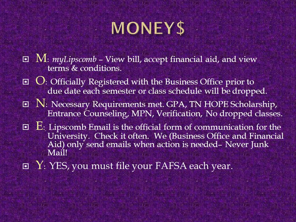  M : myLipscomb – View bill, accept financial aid, and view terms & conditions.