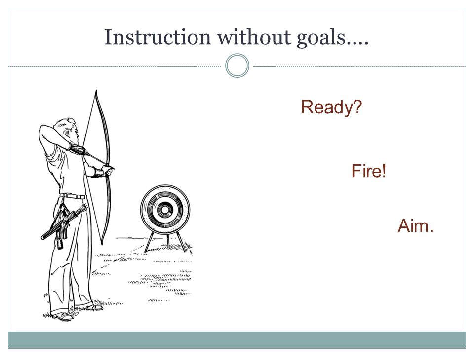 Instruction without goals…. Ready? Fire! Aim.