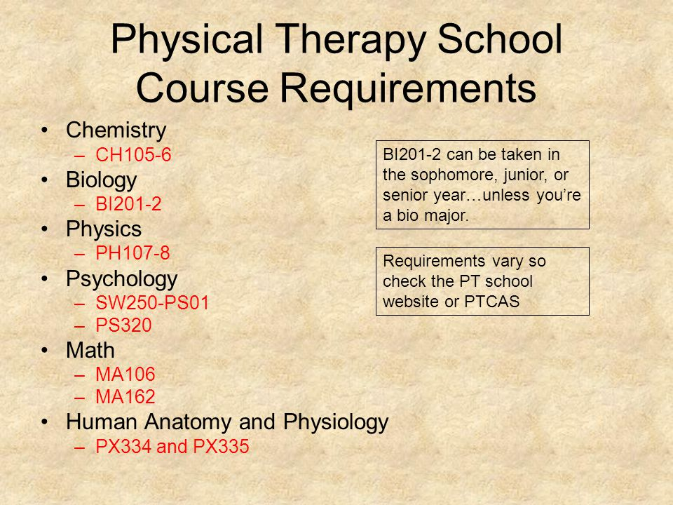 Physical Therapy School Course Requirements Chemistry –CH105-6 Biology –BI201-2 Physics –PH107-8 Psychology –SW250-PS01 –PS320 Math –MA106 –MA162 Human Anatomy and Physiology –PX334 and PX335 BI201-2 can be taken in the sophomore, junior, or senior year…unless you're a bio major.