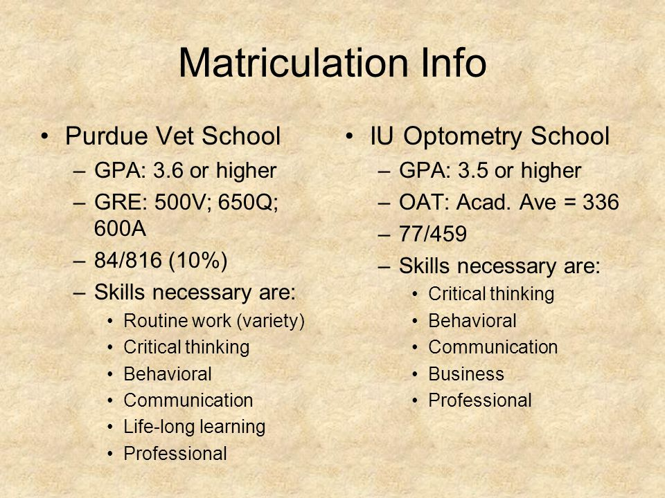Matriculation Info Purdue Vet School –GPA: 3.6 or higher –GRE: 500V; 650Q; 600A –84/816 (10%) –Skills necessary are: Routine work (variety) Critical thinking Behavioral Communication Life-long learning Professional IU Optometry School –GPA: 3.5 or higher –OAT: Acad.