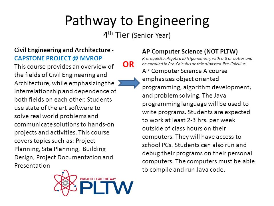 Pathway to Engineering 4 th Tier (Senior Year) Civil Engineering and Architecture - CAPSTONE PROJECT @ MVROP This course provides an overview of the fields of Civil Engineering and Architecture, while emphasizing the interrelationship and dependence of both fields on each other.