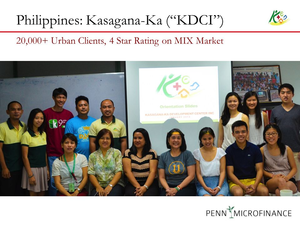 Philippines: Kasagana-Ka ( KDCI ) 20,000+ Urban Clients, 4 Star Rating on MIX Market