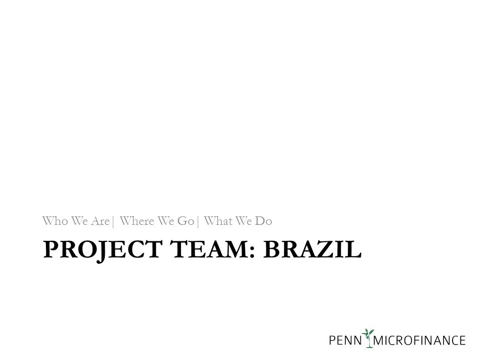 PROJECT TEAM: BRAZIL Who We Are| Where We Go| What We Do