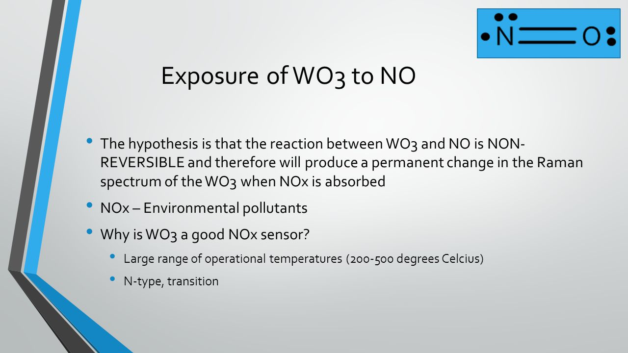 Exposure of WO3 to NO The hypothesis is that the reaction between WO3 and NO is NON- REVERSIBLE and therefore will produce a permanent change in the R