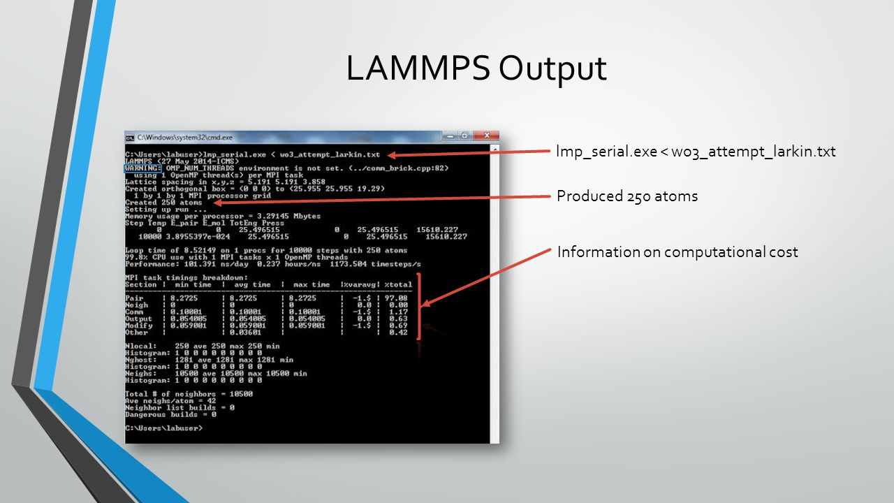 LAMMPS Output lmp_serial.exe < wo3_attempt_larkin.txt Produced 250 atoms Information on computational cost