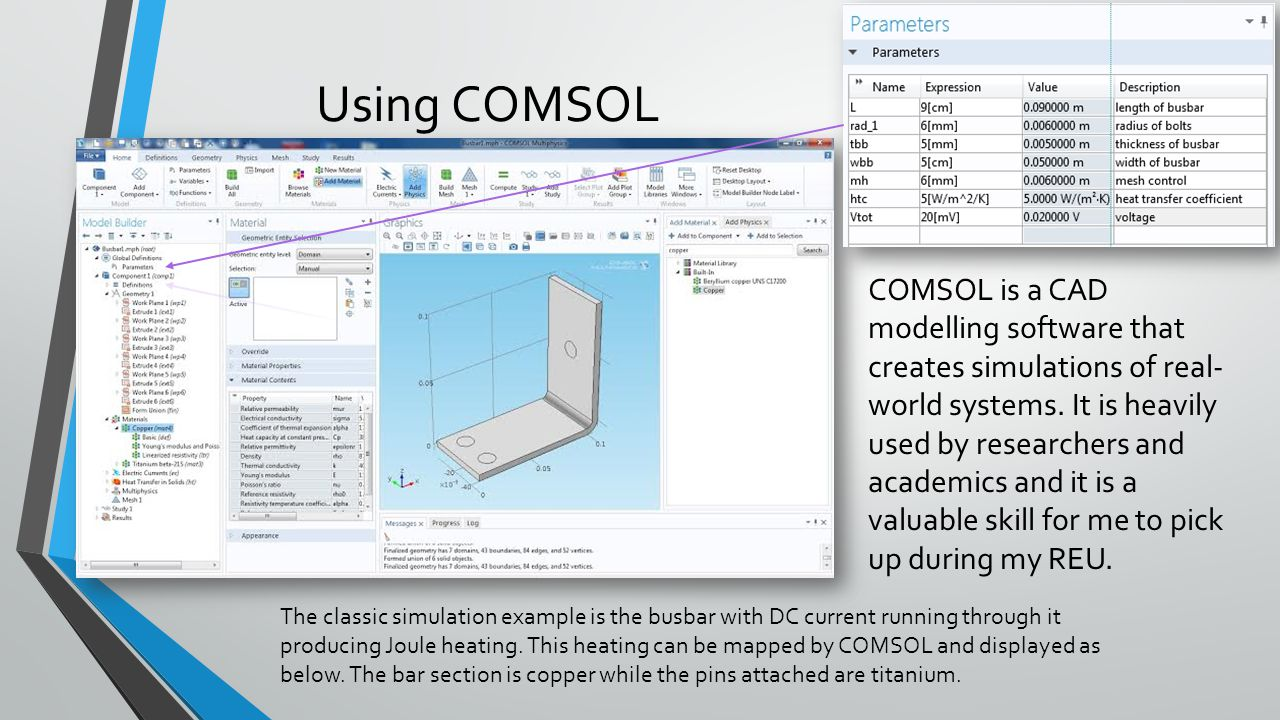 Using COMSOL COMSOL is a CAD modelling software that creates simulations of real- world systems.
