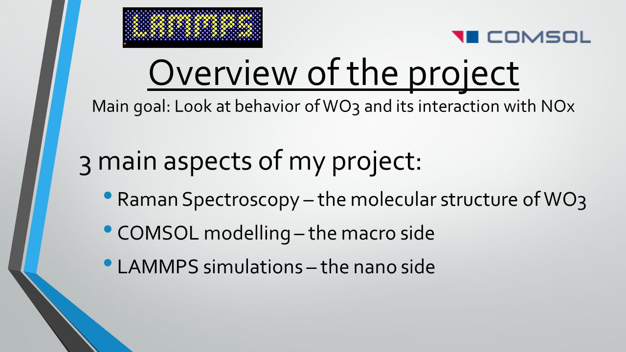 Overview of the project Main goal: Look at behavior of WO3 and its interaction with NOx 3 main aspects of my project: Raman Spectroscopy – the molecul
