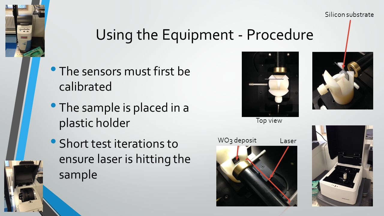Using the Equipment - Procedure The sensors must first be calibrated The sample is placed in a plastic holder Short test iterations to ensure laser is hitting the sample Silicon substrate Top view Laser WO3 deposit
