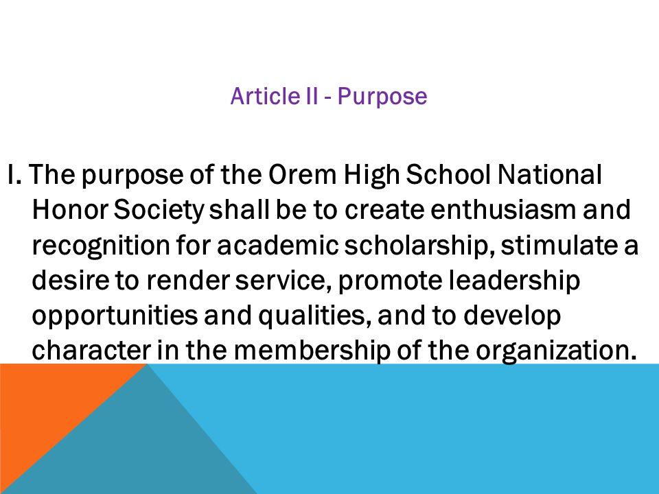 Article II - Purpose I.