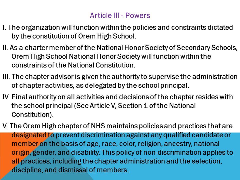 Article III - Powers I.