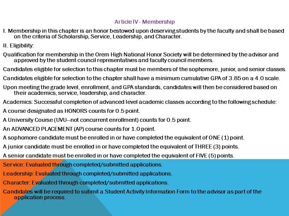 Article IV - Membership I.