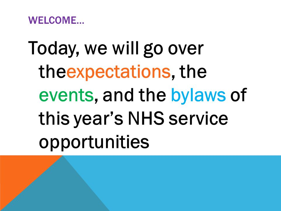 WELCOME… Today, we will go over theexpectations, the events, and the bylaws of this year's NHS service opportunities
