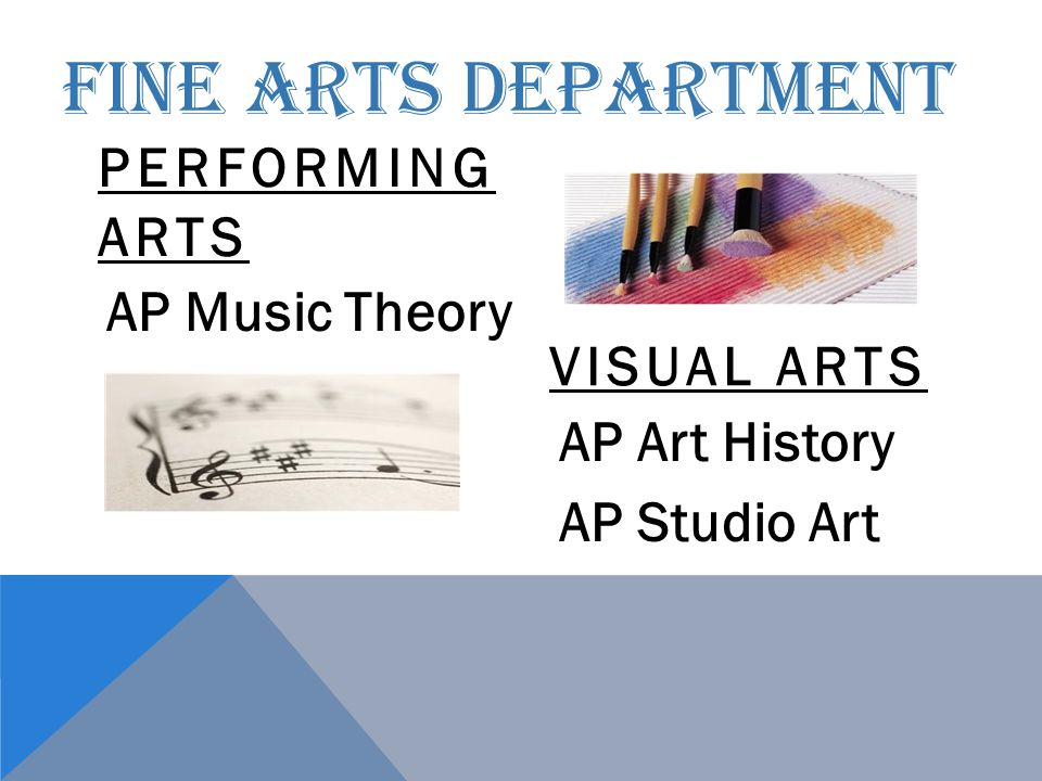 FINE ARTS DEPARTMENT PERFORMING ARTS AP Music Theory VISUAL ARTS AP Art History AP Studio Art