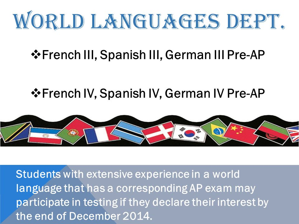 WORLD LANGUAGES DEPT.