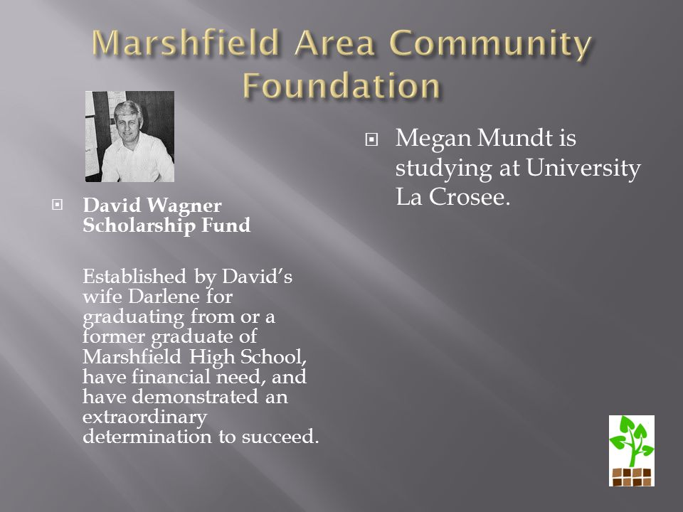  David Wagner Scholarship Fund Established by David's wife Darlene for graduating from or a former graduate of Marshfield High School, have financial need, and have demonstrated an extraordinary determination to succeed.