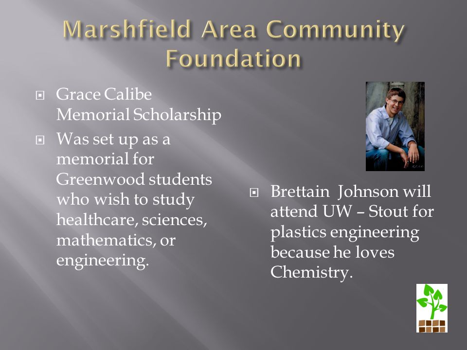  Grace Calibe Memorial Scholarship  Was set up as a memorial for Greenwood students who wish to study healthcare, sciences, mathematics, or engineering.