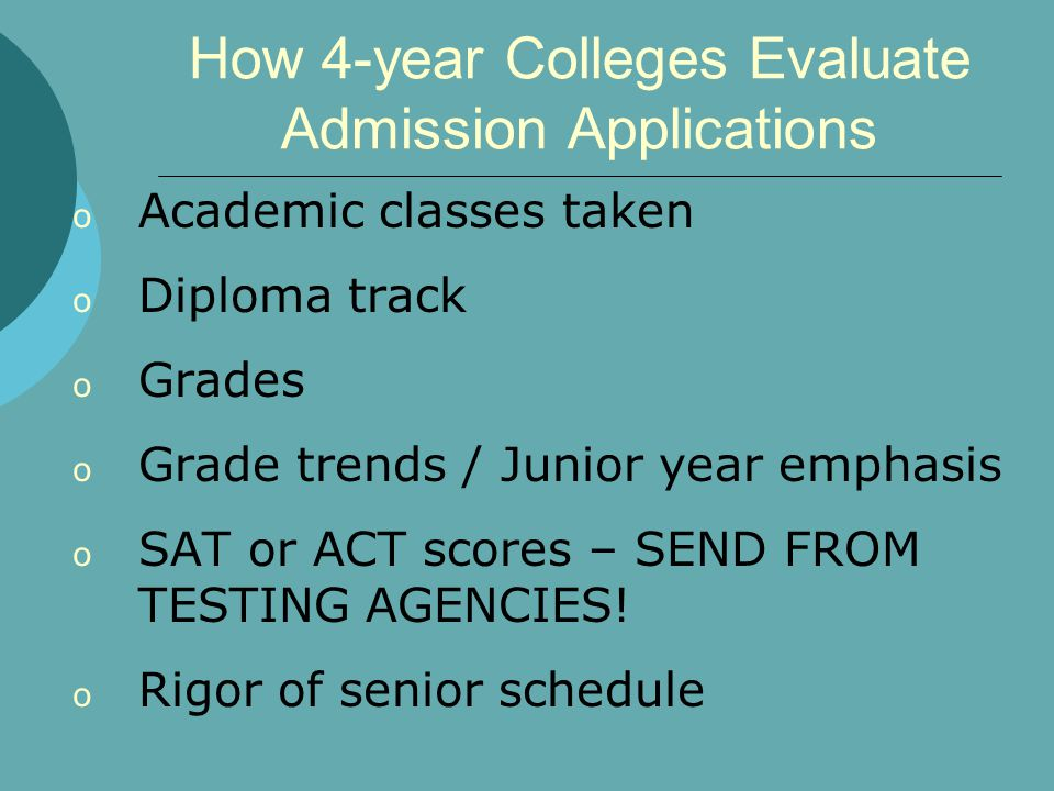 How 4-year Colleges Evaluate Admission Applications o Academic classes taken o Diploma track o Grades o Grade trends / Junior year emphasis o SAT or ACT scores – SEND FROM TESTING AGENCIES.