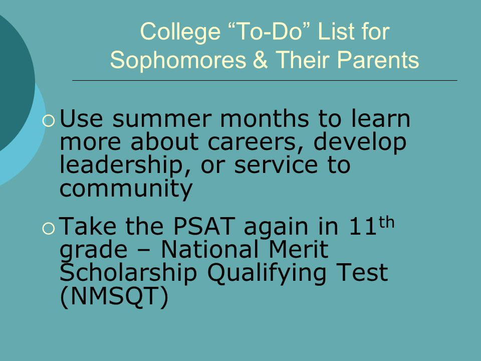 """College """"To-Do"""" List for Sophomores & Their Parents  Use summer months to learn more about careers, develop leadership, or service to community  Tak"""
