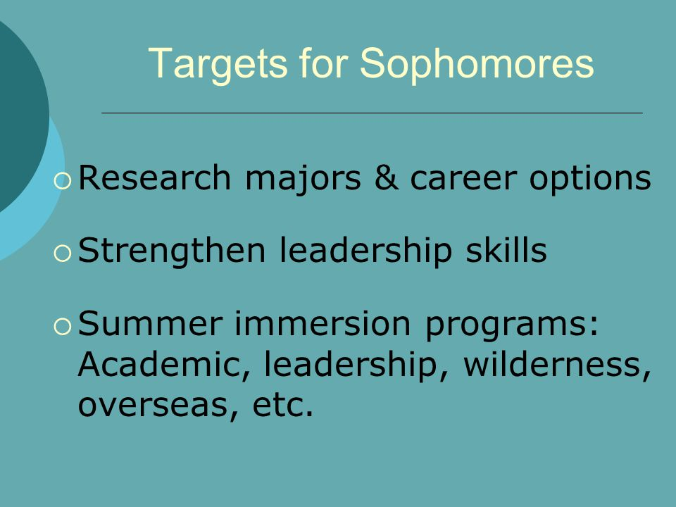 Targets for Sophomores  Research majors & career options  Strengthen leadership skills  Summer immersion programs: Academic, leadership, wilderness, overseas, etc.