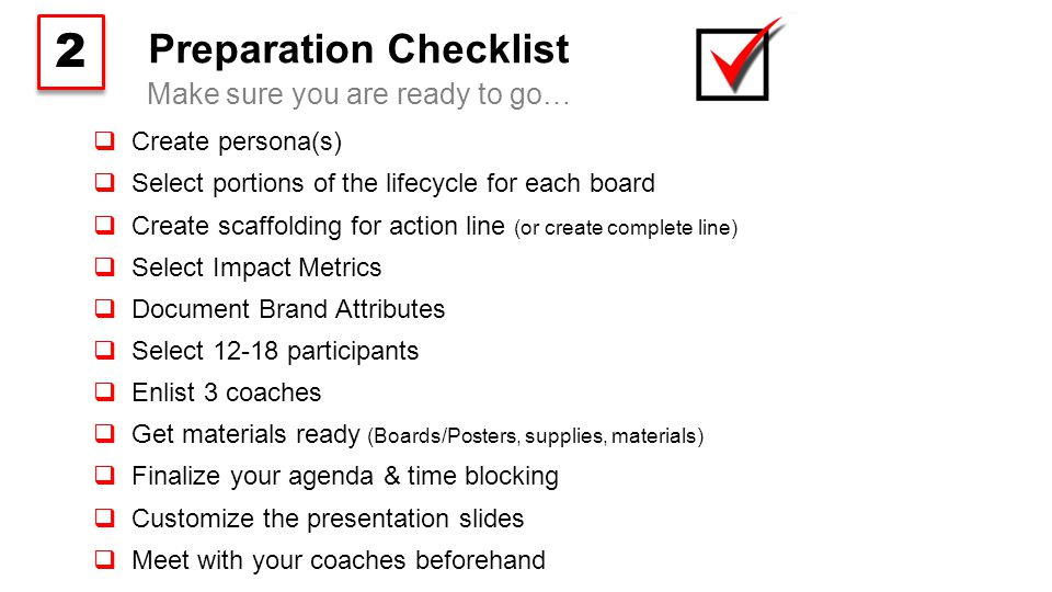 Preparation Checklist  Create persona(s)  Select portions of the lifecycle for each board  Create scaffolding for action line (or create complete line)  Select Impact Metrics  Document Brand Attributes  Select 12-18 participants  Enlist 3 coaches  Get materials ready (Boards/Posters, supplies, materials)  Finalize your agenda & time blocking  Customize the presentation slides  Meet with your coaches beforehand Make sure you are ready to go… 2 2