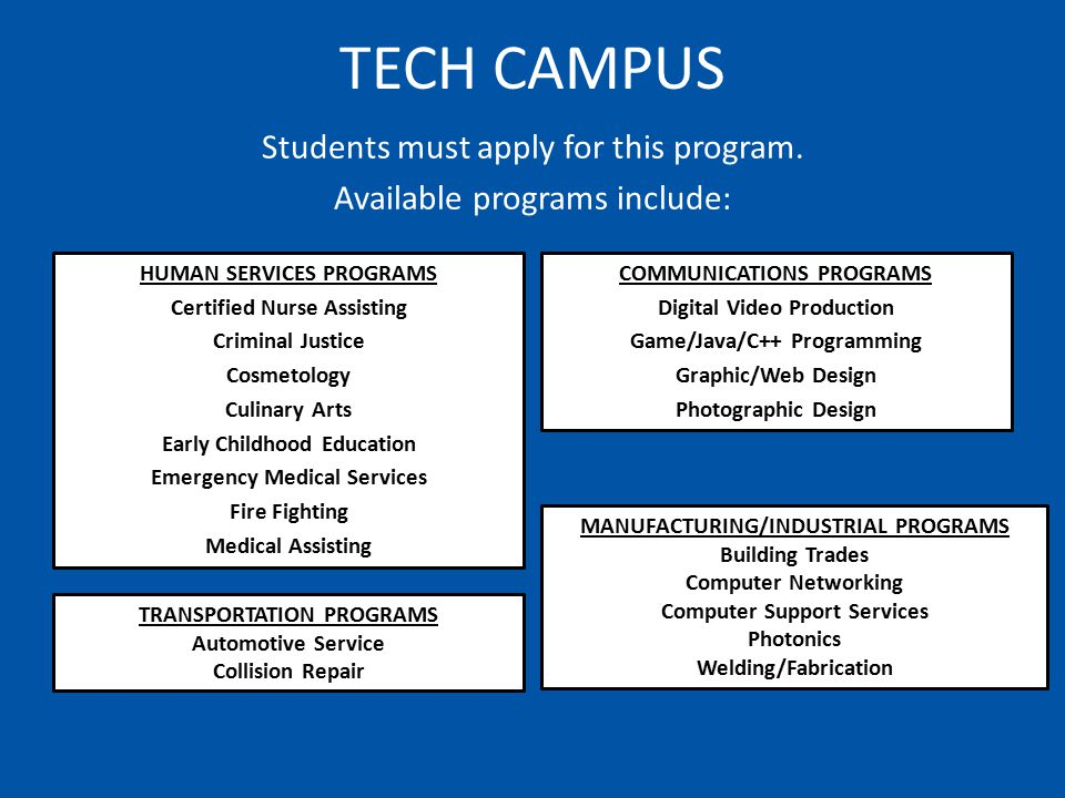 TECH CAMPUS HUMAN SERVICES PROGRAMS Certified Nurse Assisting Criminal Justice Cosmetology Culinary Arts Early Childhood Education Emergency Medical Services Fire Fighting Medical Assisting COMMUNICATIONS PROGRAMS Digital Video Production Game/Java/C++ Programming Graphic/Web Design Photographic Design Students must apply for this program.